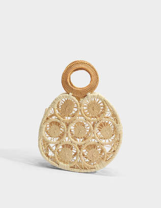 Cult Gaia Round Straw Small Bag in Natural Straw