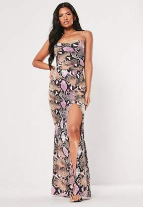 b30f995f58c45 Missguided Pink Snake Print Strappy Cowl Maxi Dress, Pink