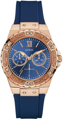 GUESS Women Blue Silicone Strap Watch 39mm