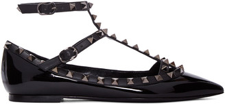 Valentino Black Patent Leather Rockstud Cage Flats $995 thestylecure.com