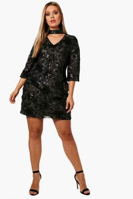 boohoo Plus Patterned Sequin Choker Dress