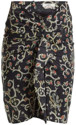 Etoile Isabel Marant Caja floral-print ruched skirt