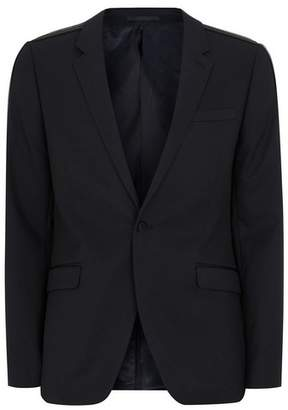 Topman Mens Black Skinny Suit Jacket With Side Taping