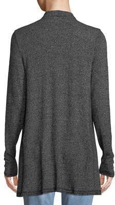 Three Dots Draped Slub-Knit Open-Front Cardigan