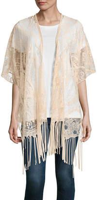 MIXIT Mixit 3/4 Sleeve Lace Fringe Kimono One Size