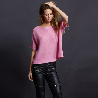 Minnie Rose - Short Sleeve Basket Weave Cotton Pullover $95 thestylecure.com