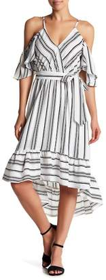 Flying Tomato Striped Cold Shoulder Hi-Lo Dress