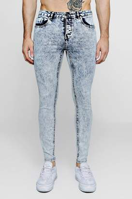 boohoo Super Skinny Acid Wash Jeans With Paint Splat