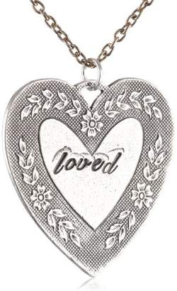"""Alisa Michelle Small Cable Hand Stamped """"Loved"""" Heart Necklace"""