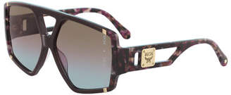 MCM Acetate Metal-Trim Aviator Sunglasses