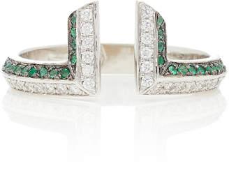Ralph Masri 18kt White Gold Damond and Emerald Ring