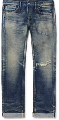 Co Fabric-Brand & Abram Slim-Fit Distressed Selvedge Denim Jeans