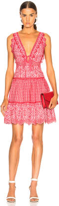 Jonathan Simkhai Stripe Eyelet Gathered Mini Dress