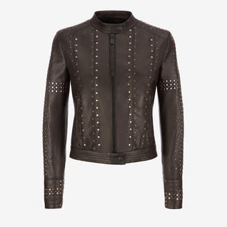 Bally Studded Café Racer Biker Jacket Black, Women's lamb nappa leather biker jacket in black