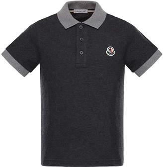 Moncler Two-Tone Short-Sleeve Polo Shirt, Size 4-6