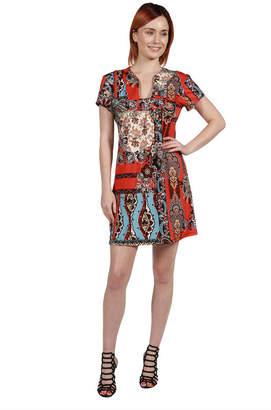 24/7 Comfort Apparel 24Seven Comfort Apparel Cynthia Orange and Turquoise Mini Dress