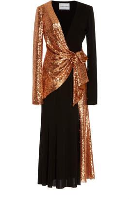 Prabal Gurung Sequin-Detailed Wrap Front Crepe Dress