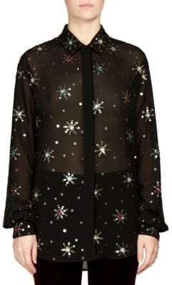 Saint Laurent Embellished Georgette Sequin Shirt