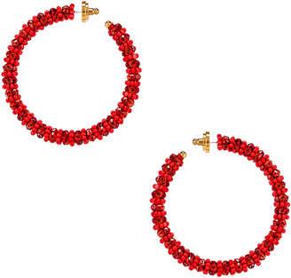 Oscar de la Renta Beaded Hoop Earrings in Cayenne | FWRD