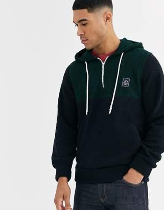 Jack and Jones Originals borg half zip colour block hoodie jumper in green