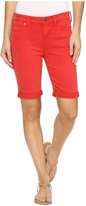 Liverpool Hayden Rolled-Cuff Bermuda in Pigment Dyed Slub Stretch Twill in Ribbon Red Women's Shorts