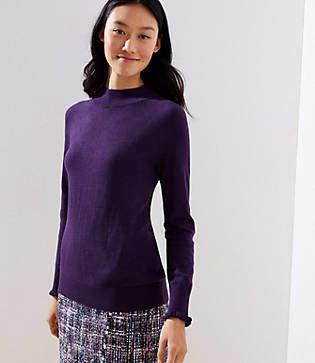 LOFT Petite Ruffle Cuff Mock Neck Sweater