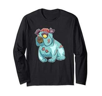 The Walking Scary Dead Bulldog T Shirt Long Sleeve