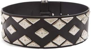 Isabel Marant Studded Wide Leather Waist Belt - Womens - Black