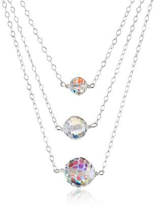 Swarovski Multi Layer Sterling Silver with Elements Aurora Borealis Beads Chain Necklace