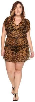 Lauren Ralph Lauren Plus Size Leopard Tunic Cover-Up Women's Swimwear