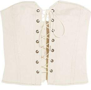 Isabel Marant Lace-up Shirred Denim Bustier Top
