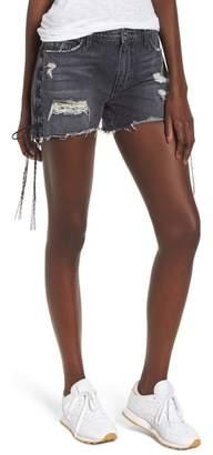 Hudson Sade Lace-Up Cutoff Denim Shorts