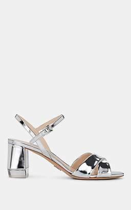 Prada Women's Metallic Leather Sandals - Silver