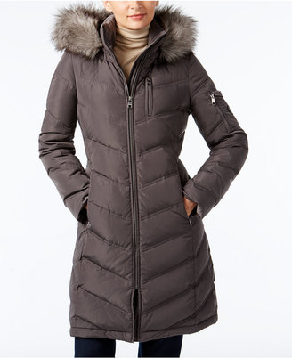 Calvin Klein Faux-Fur-Trim Chevron Water-Resistant Down Puffer Coat $275 thestylecure.com