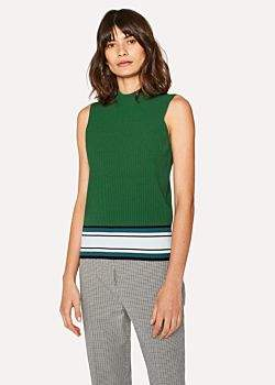 Paul Smith Women's Green Knitted Sleeveless Top