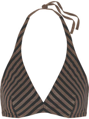 Eres Backgammon Mister Striped Stretch-lurex Halterneck Bikini Top