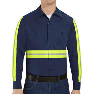Red Kap Enhanced-Visibility Industrial-Cotton Long-Sleeve Work Shirt - Big & Tall
