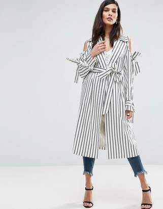 ASOS Draped Coat in Stripe with Bows $106 thestylecure.com