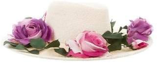 Saint Laurent Floral Raffia Hat