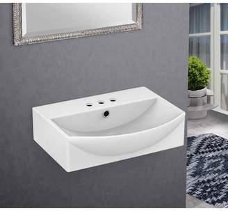 American Imaginations Ceramic Rectangular Vessel Bathroom Sink with Overflow