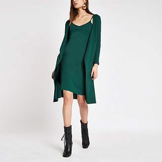 River Island Womens Dark Green wrap tie waist dress