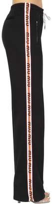 Miu Miu Logo Side Bands Jersey Sweatpants