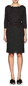 Marc Jacobs WOMEN'S BOW-APPLIQUÉD GLITTER-DOT CREPE DRESS-BLACK SIZE 0