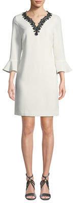Karl Lagerfeld Paris 3/4 Bell-Sleeve V-Neck Shift Dress