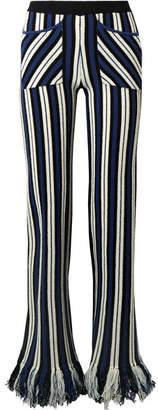 Fringed Striped Waffle-knit Cashmere Straight-leg Pants - Storm blue