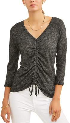 No Comment Women's Long Sleeve Deep V-Neck Ruched T-Shirt
