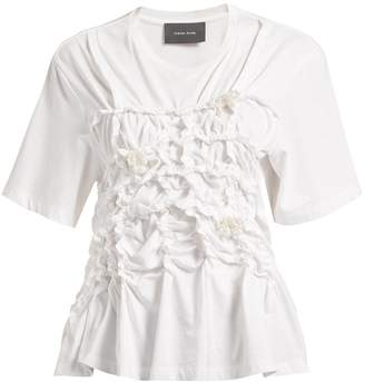 Simone Rocha Pearl-embellished gathered cotton T-shirt