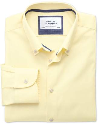 Charles Tyrwhitt Extra Slim Fit Button-Down Collar Non-Iron Business Casual Yellow Cotton Dress Shirt Single Cuff Size 15.5/35