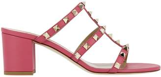 Valentino Heeled Sandals Rockstud Sandals In Smooth Leather With Micro Metal Studs