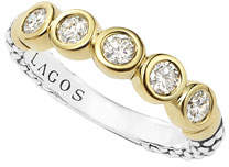 Lagos 18k Gold/Silver Caviar 5-Diamond Stacking Ring, Size 7
